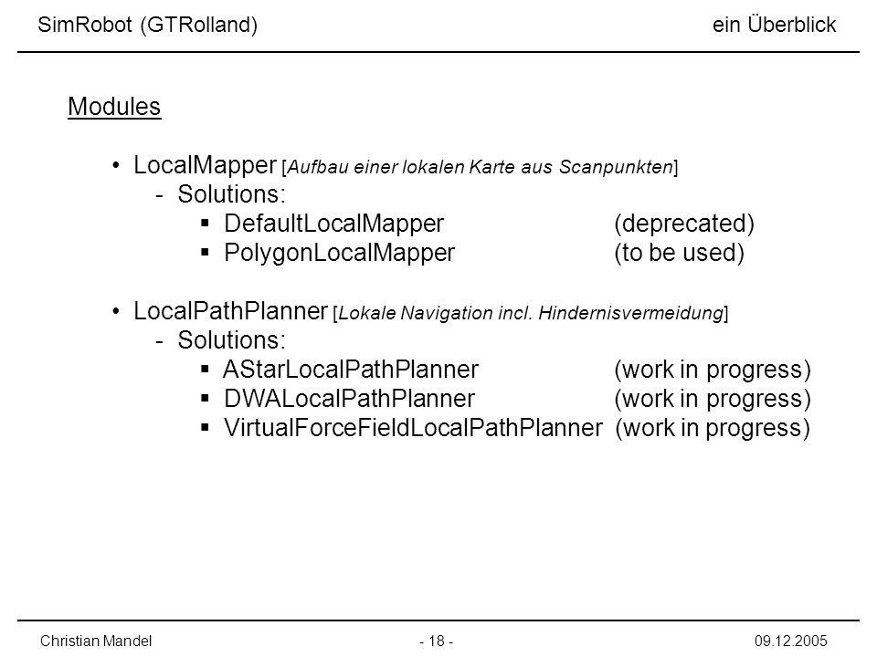 LocalMapper [Aufbau einer lokalen Karte aus Scanpunkten] Solutions: